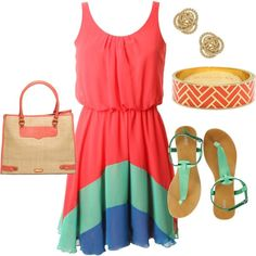 Really cute Summer dress outfit with sandals. Pink, teal, and blue outfit.