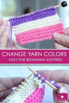 How to Change Yarn Colors While Knitting for Beginning Knitters with Studio Knit - Watch Free Knitting Video Tutorial via @StudioKnit #knittingtutorials