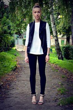 black vest with sweater. love it