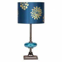 "Set of two table lamps with floral drum shades.Product: Set of 2 table lampsConstruction Material: Metal and fabricColor: BlueFeatures: Eye-catching designAccommodates: (1) 60 Watt bulb each - not includedDimensions:  19"" H x 9"" Diameter each"