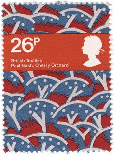 Paul Nash textile print on a stamp