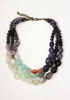 Chunky stone necklace 3 strand agate by StarsonMarsJewelryCo