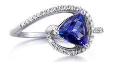 Parlé Jewelry Designs trillion-cut tanzanite and diamond ring
