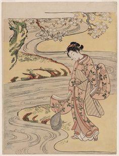 Catching Fallen Blossoms with a Fish Net  桜を掬う女 Japanese Edo period about 1766–67 (Meiwa 3–4) Artist Suzuki Harunobu (Japanese, 1725–1770)