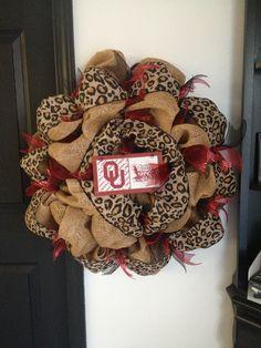OU Burlap and Leopard Wreath