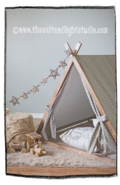Kids Teepee Play Tent in classic Herringbone Print - Frame included. $220.00, via Etsy.