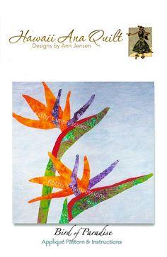 Tropical BIRD OF PARADISE Flower Hawaii Ana Batik Applique