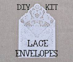 DIY KIT for a set of 75 Lace Wedding Invitation Envelope Liners, Paper Doily Lace Invitation Liner Kit, DIY Lace Envelopes