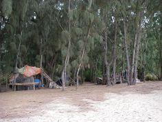 Vacation photo-op!  LOST survivors' beach camp on Papailoa Beach aka Police Beach.