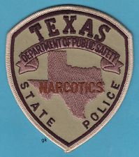 TEXAS DPS NARCOTICS STATE  POLICE SHOULDER PATCH (tan)