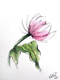 "Original artwork of a lovely single watercolor tulip rendered in pen, ink and watercolor. It is titled ""Bending In The Wind Pink Tulip"" and is signed and dated at the bottom with the title on the back. It is a lovely pink tulip bending or leaning over with a gorgeous green leaf"
