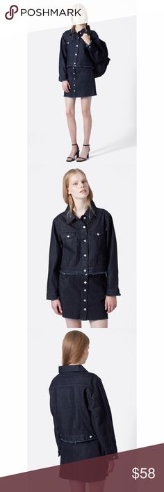 Marques Almeida for Topshop Boxy Denim Jacket Marques Almeida for Topshop Boxy Denim Jacket. Marques Almeida is a favorite of Rihanna and FKA twigs.  Like new.  A deep indigo wash accented with silvertone hardware lends cool style to a boxy denim jacket finished with soft fraying at the cuffs and cropped hemline. - Unlined - 100% cotton Topshop Jackets & Coats Jean Jackets