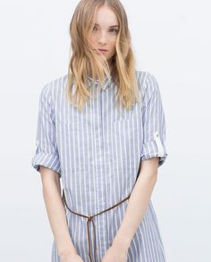 Image 2 of STRIPED TUNIC WITH BELT from Zara