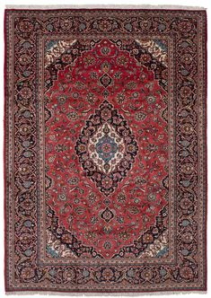 "Hand-knotted Kashan Red Wool Rug 8'0"" x 11'5"""