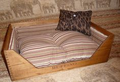 Classic wine crate pet bedFREE SHIPPING by pberry39 on Etsy, $175.00 Pet Beds, Dog Bed, Crate Ottoman, Crate Crafts, Animal Projects, Diy Stuffed Animals, Crates, Pets, Classic