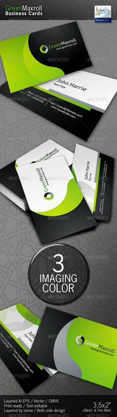 GreenMaxroll Business Cards — Vector EPS #green #web • Available here → https://graphicriver.net/item/greenmaxroll-business-cards/1455817?ref=pxcr