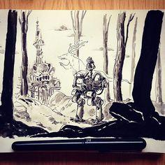 regram @ullikummi There there #drawing #sketchbook #sketch #mech