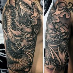 50 Deadly Dragon Tattoos For Men - Manly Mythical Monsters Dragon Tattoos For Men, Dragon Sleeve Tattoos, Japanese Dragon Tattoos, Cool Tattoos For Guys, Dragon Tattoo Designs, Tattoo Sleeve Designs, Tattoo Designs Men, Body Art Tattoos, New Tattoos