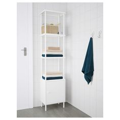 IKEA - DYNAN, Shelf unit, , Adjustable feet make it possible to compensate for any irregularities in the floor.Perfect in a small bathroom. At Home Furniture Store, Modern Home Furniture, Affordable Furniture, Ikea Bathroom, Bathroom Storage, Small Bathroom, Bathroom Bench, Bamboo Bathroom, Modular Shelving