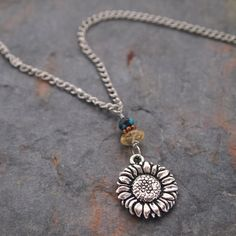 Gemstone and Sunflower Necklace by wildharegems4 on Etsy, $18.50