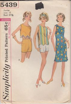 1960s Crop Top with Fringe Shift Dress Sleeveless 1964 Size 11 Bust 31 Vintage Simplicity 5439 by PrettyfulPatterns on Etsy