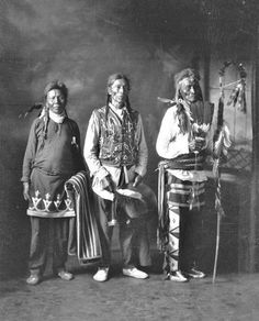 Chippewa Cree men, including Peter Kenewash (far right), from Rocky Boy Reservation in Montana - circa 1920