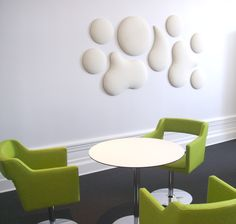 Gone are the days of boring and unattractive acoustic panels. Acoustics With Design can create acoustics to compliment of any space and provide effective noise reduction. Pictured: Woolbbubbles by Wobedo #QuieterRooms