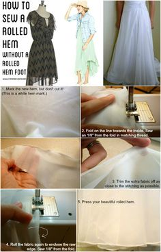 Sewing 101 - How to machine Sew a Rolled Hem - Feathers Flights Sewing Lessons, Sewing Class, Sewing Hacks, Sewing Tutorials, Sewing Patterns, Sewing Tips, Clothes Patterns, Dress Patterns, Techniques Couture