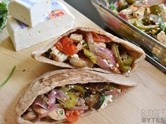 These Oven Roasted Greek Stuffed Pitas are an easy make ahead lunch with big flavor and little effort. Step by step photos.