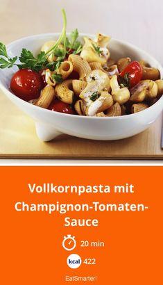 Clean-Eating-Mittag: Vollkornpasta mit Champignon-Tomaten-Sauce - kalorienarm - schnelles Rezept - einfaches Gericht - So gesund ist das Rezept: 9,1/10 | Eine Rezeptidee von EAT SMARTER | Diäten, Dash-Diät, Diät, Ohne Ei, Ohne Fleisch, Vegetarisch, Vegetarisches Mittagessen, Vegetarisches Abendessen, Vegetarische Hauptgerichte, Blitzrezepte, Feierabend-Rezepte, Kochen für Berufstätige, Schnelle Rezepte, Gemüse, Nudeln, Pilze, Mittagessen, Abendessen #fruchtgemüse #gesunderezepte Pasta, Eat Smarter, Cereal, Food And Drink, Low Carb, Canning, Breakfast, Clean Eating, Vegetarian Main Dishes