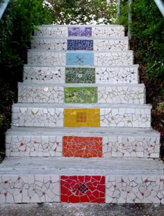 Mosaic staires - Sigalit Eshet. I think this would be nice on the front side on concert steps.