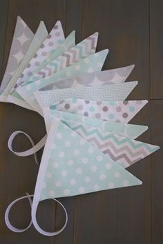 Teal Aqua & Gray Grey Fabric Bunting  for Nursery, Playroom, First Birthday Party, Baby Shower or Photo Prop by MsRogersNeighborhood Etsy Shop
