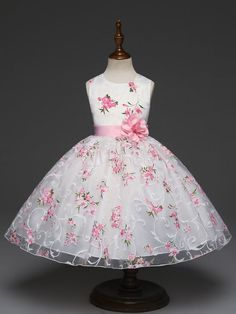 f4d7172e3 Floral Flower Girl Dresses Printed Princess Short Sleeveless Flower Sash White  Kids Pageant Dresses
