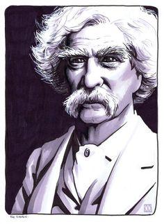 Matt Wagner - Portrait of Mark Twain Adventures Of Tom Sawyer, Adventures Of Huckleberry Finn, Mark Twain, Matt Wagner, Jose Luis Sampedro, Singular, Face Sketch, Comic Art, Literature