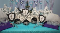 Fozen birthday party.  Boys get blow up swords and Olaf shields!  Fun!