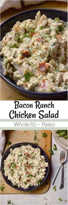 Perfect for lunch or dinner, this Bacon Ranch Chicken Salad is filling, nutritious and tasty! The great flavors of ranch dressing mixed with bacon take this Chicken Salad Recipe to the next level! A healthy Whole30 and Paleo compliant lunch option. #whole30recipes #whole30 #paleodiet #chickensalad