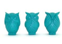 Set of 3 Turquoise Owls: $24.95 by Blooms of Yarrawonga. Could diy this with 3thrift store figurines. Love the colour.