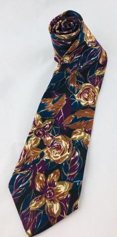 Cravate De France Mens Necktie Floral Blue Purple Brown Black Polyester #CravateDeFrance #Tie