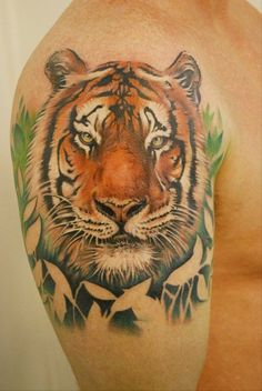 150+ Powerful Tiger Tattoo Designs And Meanings nice Check more at https://tattoorevolution.com/tiger-tattoos-meanings/