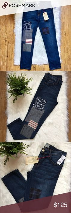 """CURRENT/ELLIOTT PATCHWORK BOYFRIEND JEANS Medium wash blue Current/Elliott straight leg boyfriend jeans with 4 pockets, contrast stitching and patchwork accents throughout featuring concealed zip closure at center front.  •Measurements: Length: 38"""" Inseam: 28"""" Leg opening: 6"""" Rise:9"""" Current/Elliott Jeans Boyfriend"""