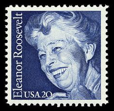 20c Eleanor Roosevelt 1984.   Oct. 11, 1884, EleanorRoosevelt, the American first lady, social reformer, diplomat and author, was born. Stamp issued 1984.
