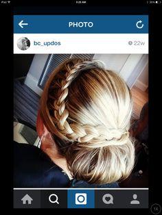 Braid bun updo wedding hair bridesmaid