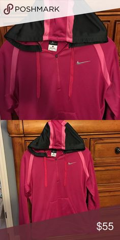 Like New Nike Therma Fit 1/4 Zip Hoodie Maybe worn 2x. No snags or flaws. Hot pink, light pink and black accents. Therma fit with polyester shell. So comfy and warm. Nike Tops Sweatshirts & Hoodies