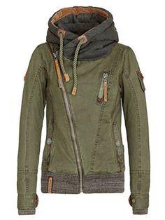Diagonal Zip Up Front Hood Jacket