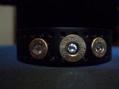 Black leather bullet bracelet with Swarovski crystals. $25.00.
