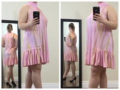 This is a cute dress, great for any party, even the upcoming Easter celebration! It's a high neck mini dress with a ruffled bottom and a pretty silver chain accessory. This sleeveless dress is made of a pink pastel marble-patterned fabric.  Buy now at https://www.etsy.com/ca/shop/ClassyGiselleLauren?ref=hdr_shop_menu
