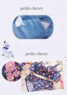 Cute floral lace push up bustier bra from Petite Cherry. SHOP >> http://www.petitecherry.com/search?q=sakura #lingerie #cute #bra #panty