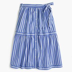 Crew for the Button-front striped skirt for Women. Find the best selection of Women Skirts available in-stores and online. Long Striped Skirts, Below The Knee Skirt, J Crew Skirt, Stripe Skirt, Cotton Skirt, Clothes For Women, Women's Clothes, Button, Fall Weather