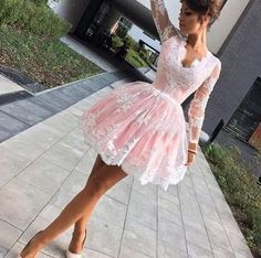 Cute V-neck Long Sleeve White Lace Pink Homecoming Dresses, Sweet 16 Dresses , HD026