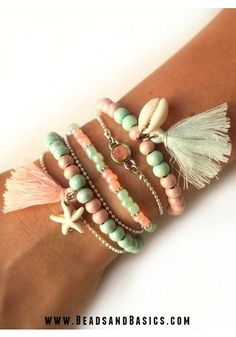 Bracelets in Mint and Pink - Inspiration set Webshop with beads and jewelry parts according to the latest trends + Step by step - Arm Candy Bracelets, Beaded Wrap Bracelets, Seed Bead Bracelets, Jewelry Bracelets, Cute Jewelry, Boho Jewelry, Jewelery, Diy Videos, Boho Accessories